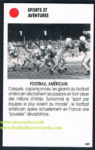 1980s French trade card American football E89